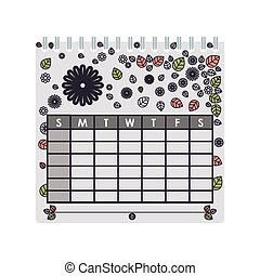 silhouette calendar with floral background