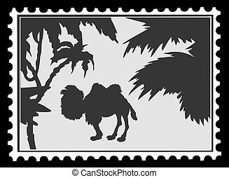 silhouette camel on postage stamps, vector illustration