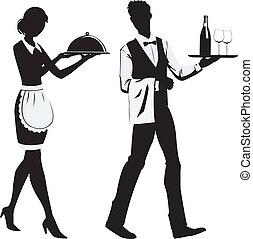 silhouette, camerieri