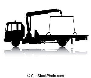 silhouette, camion, remorquage