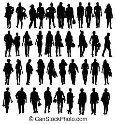 silhouette, camminare, vettore, nero, persone