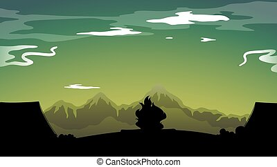 Silhouette campfire