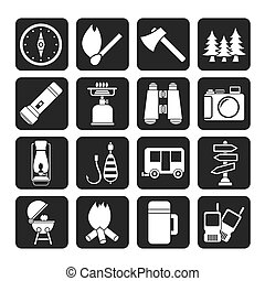 Camping, travel and Tourism icons - Silhouette Camping,...