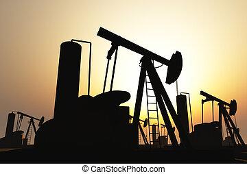 silhouette, campo, olio pompa