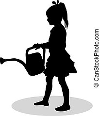 silhouette, can., arrosage, silhouettes, conceptual., girl