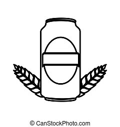 silhouette canned drink with ornament leaves vector illustration