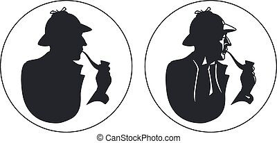 silhouette., cano, detetive, fumante, sherlock holmes