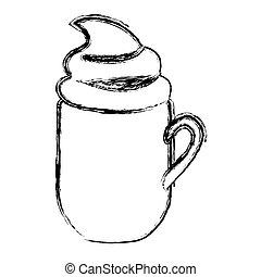 silhouette, cappuccino, crème, grande tasse, brouillé