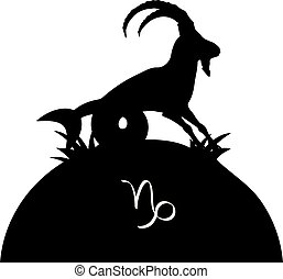 Silhouette CAPRICORN on the hill, on white background,