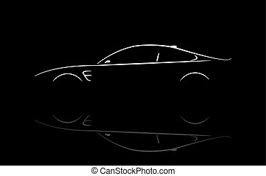 Silhouette car coupe vector design with reflection.