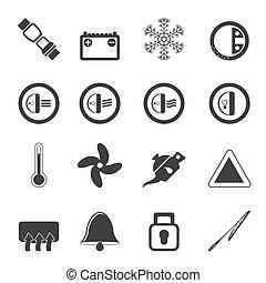 Silhouette Car Dashboard icons