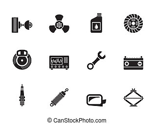 Car Parts and Services icons - Silhouette Car Parts and...