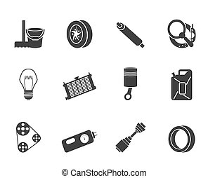 Silhouette Car Parts icons - Silhouette Car Parts and...
