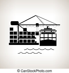 Silhouette cargo container ship and cargo crane on a light background, unloading containers from a cargo ship on the docks with cargo crane , black and white illustration