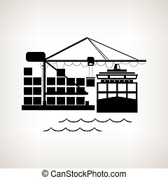 Silhouette cargo container ship and cargo crane , vector...