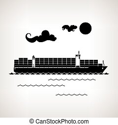 Silhouette cargo container ship on a light background ,...