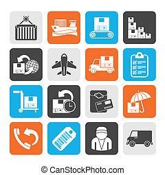 Cargo, shipping and delivery icons