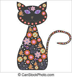 silhouette, carino, flo, gatto