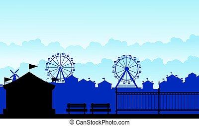 silhouette, carnaval, funfair, met, vermaak, landschap
