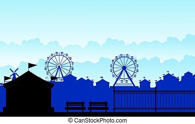 Silhouette carnival funfair with amusement scenery