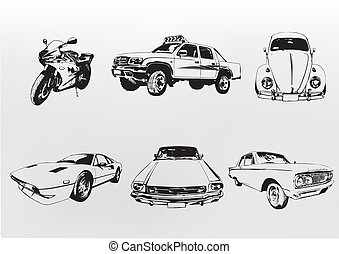 silhouette, cars.