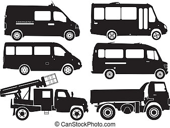 Silhouette cars, vector illustration