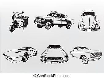 Silhouette cars. Vector illustration of old vintage custom...