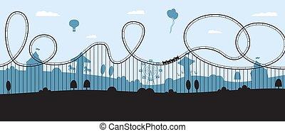 silhouette, cartone animato, bandiera, rollercoaster, divertimento, orizzonte, -, appartamento, parco