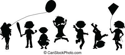 silhouette, cartone animato, folla, gioco