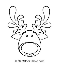 silhouette cartoon funny face reindeer animal