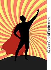 Silhouette cartoon man in hero costume burst background