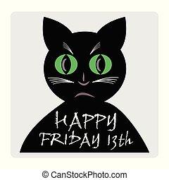 silhouette, cartoon., vendredi, chat, noir, 13e, bannière, rouges