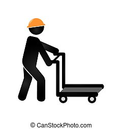 silhouette cartor truck for building with worker