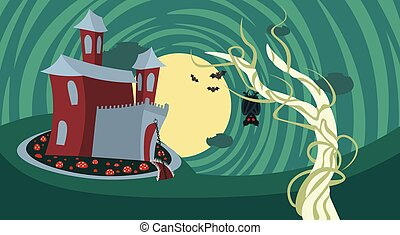 Silhouette Castle With Ghosts In Moonlight Scary Shadows Happy Halloween Banner Trick Or Treat Concept Holiday
