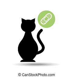 silhouette cat pet care icon
