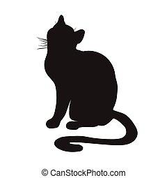 silhouette, cat., seduta