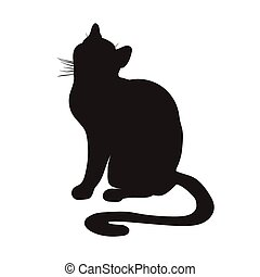 silhouette, cat., sitzen
