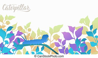 Silhouette caterpillar creeps along the blade of grass in the bushes background. Life of insects in the wild illustration. Beauty macro world design