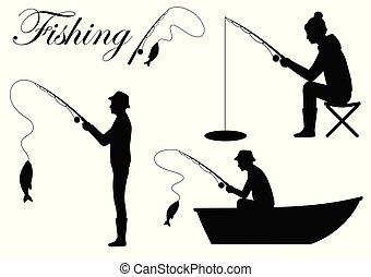 silhouette, cath, visje, staaf, visser, visserij, pictogram, man