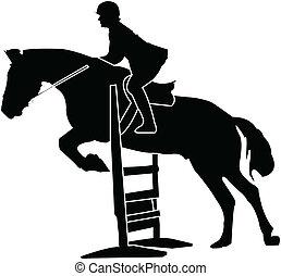 silhouette, cavallo, vettore, -, corsa