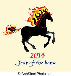 silhouette, cavallo