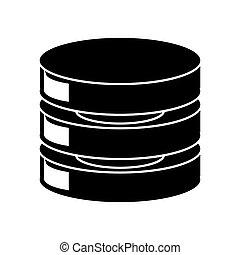 silhouette, centro, server, sicurezza, dati, rete