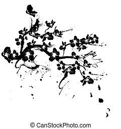silhouette, cerisier, illustration, fond, fleurs blanches