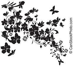 silhouette, cerisier, illustration, papillons, fond, fleurs blanches