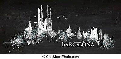Silhouette chalk Barcelona - Silhouette Barcelona city...