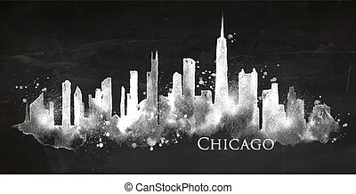 Silhouette chalk Chicago - Silhouette of Chicago city ...