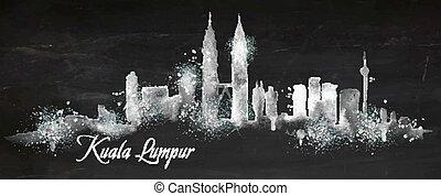 Silhouette chalk Kuala Lumpur