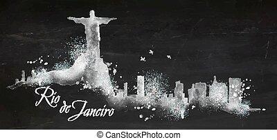 Silhouette chalk Rio de Janeiro