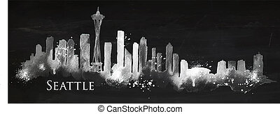 Silhouette chalk Seattle - Silhouette Seattle neighborhood ...