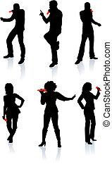 silhouette, chanteurs, collection